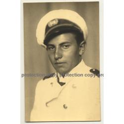 Pretty Young Marine Soldier In White Uniform / Belgium? (Vintage RPPC ~1930s/1940s)